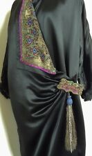 STUNNING 20's SILK SATIN COAT + EMBROIDERED COLLAR & BEADED TASSEL ETC - EX COND