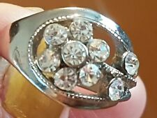 Silver Plated Crystal Ring Size Q