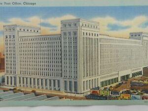 Vintage Postcard New Post Office Chicago IL Illinois 1930's Era