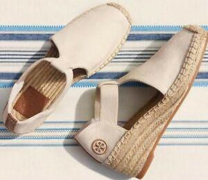EUC TORY BURCH women's Catalina slipon espadrille wedge heels in neutral US sz8