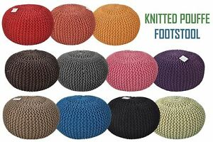 Large 50cms Chunky Knitted 100% Cotton Round Pouffe Handmade Foot Stool Ottomans