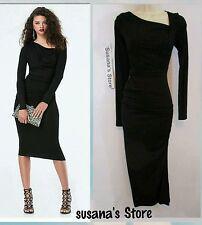 NWT BEBE ASYMMETRIC NECK MIDI DRESS SIZE XXS  Unique Beautiful Dress!