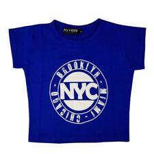 Vêtements T-shirt bleu en polyester pour fille de 2 à 16 ans