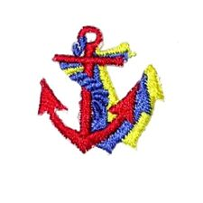 IRON ON PATCH APPLIQUE - ANCHOR TRI COLOR  RED/ROYAL/YELLOW
