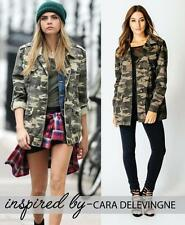 Hip Length Cotton Camouflage Coats & Jackets for Women