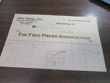 ANTIQUE - THE FREE PRESS ASSOCIATION - BURLINGTON VT - 1901 BILLHEAD