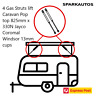 4 Gas Struts lift Caravan Pop top 825mm x 330N Jayco Coromal Windsor 13mm cups