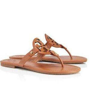 Tory Burch Miller Vintage Vachetta Leather Flat Classic Sandals Brown - 50008647
