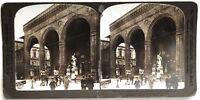 Florence Davanti Loggia Dei Lanzi Italia Foto (Danneggiata) Stereo Vintage