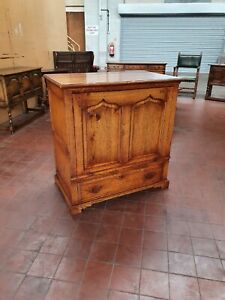 ANTIQUE/REPRODUCTION SOLID OAK TV/MEDIA/STORAGE/TELEPHONE/HALL/LAMP CABINET