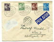 Romania 1930 Carol II stamp set on attractive airmail philatelic cover to Wien R