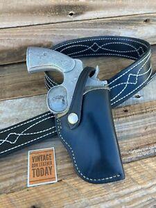 """Vintage Don Hume Black Leather Lined Holster for Colt Python S&W L Frame 2 1/2"""""""