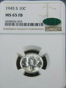 1945-S Mercury Dime NGC MS65FB CAC Blast White Full Bands Superb Luster PQ #G871