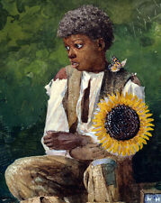 Young Black African American Boy w/ Sunflower For Teacher Real Canvas Art Print