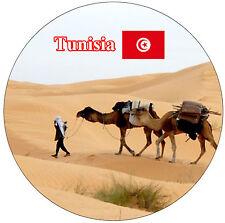 TUNISIA (SUN / SIGHTS / FLAGS) - ROUND SOUVENIR FRIDGE MAGNET - BRAND NEW / GIFT