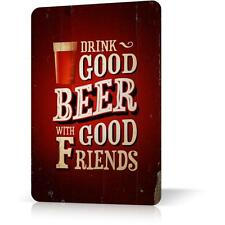 METAL TIN SIGN BEER WITH FRIENDS RUSTED Vintage Poster Decor Home Bar Pub Garage