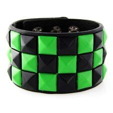 Green Checkered Studded   Black Leather Bracelet