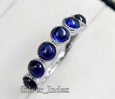 Natural Sapphire Cabochon Gemstone 925 Sterling Silver Engagement Ring For Women