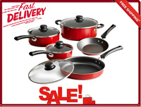 9-Piece Non Stick Cookware Set Red Stackable Pans With Tempered Glass Lids New