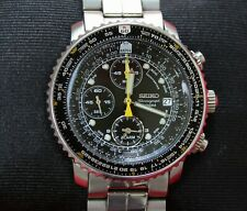 Seiko Flightmaster SNA411P1 Alarm Chronograph Quartz Edelstahl Herrenuhr 40 mm