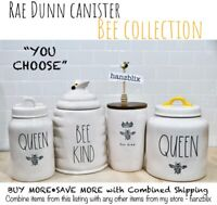 "Rae Dunn Canister ""YOU CHOOSE"" Bee Collection QUEEN BE KIND Crown  NEW'20-'21"