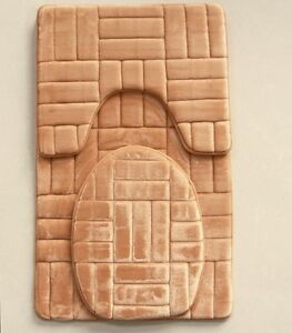 3 Piece Victoria Super Soft Microfiber Memory Foam Bath Mat Set Blocks Design