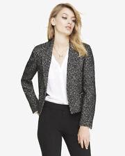New Express Herringbone Zip Pocket Jacket Retail $59 Black/White Sz 6