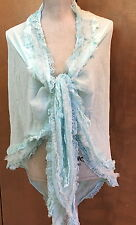 April Cornell Aqua Scarf Ruffle Lace Triangle Shawl Chiffon, NWT O/S