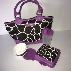 Tupperware Lunch Bag Purple Giraffe Insulated 3 Containers Drink Sandwich Set