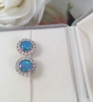 Vintage Jewellery Earrings with Opals and White Sapphires Antique Deco Jewelry