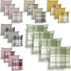 "Set of 4 Cushion Covers Balmoral Check Cover 17"" 43"" Filled Cotton Cushions"