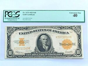 1922 $10 Gold Certificate PCGS 40 - EXTREMELY FINE - Fr. 1173