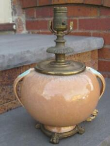 1935 Roseville Pottery Orion Brown Turquoise Handled Factory Lamp