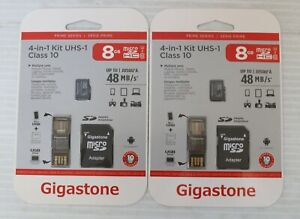 LOT OF 2 Gigastone Micro SD Flash Memory 4-in-1 Adapter Kit UHS-1 CLASS 10