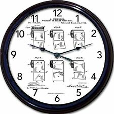 """Bathroom Toilet Tissue Or Wrapping Roll Patent Plans Wall Clock Fun Gift New 10"""""""