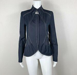 T TAHARI Jacket Blazer NWT 'Denim' Stretch Chic Stitching Size XS $139 NTSF