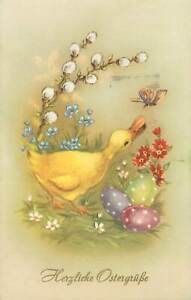 Postcard Easter greet surreal illustration duck butterfly paint decorated eggs