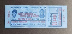 Rocky Marciano vs Jersey Joe Walcott 1953 original unused boxing ticket