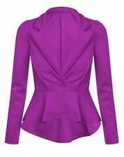 Womens Ladies Blazer Collared One Button Suit Jacket Peplum Slim Fit Coat