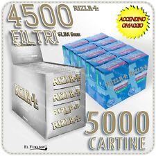 5000 Cartine RIZLA SILVER GRIGIE CORTE + 4500 Filtri SLIM 6mm + ACCENDINO