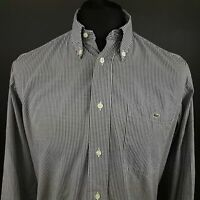 Lacoste Mens Shirt 40 (LARGE) Long Sleeve Grey Regular Fit Check Cotton