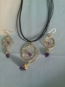 Dream Catcher Amethyst Necklace Earring Set 14k Gold Plated