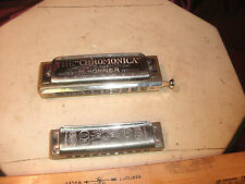 2 Vtg M Hohner Harmonica-Marine Band G A440 & Chromonica-made Germany-free ship