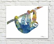 Sloth Abstract Watercolor Painting Art Print by Artist DJ Rogers