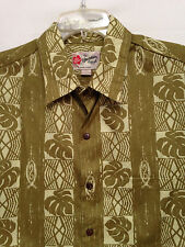 Men's Hilo Hattie Hawaiian  Size XL   Aloha Gold Green SS Shirt  New!