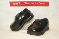 GENUINE KIDS OSHKOSH Baby Shoes Boys Black Moccasins Velcro Dress Sz 4 * XLNT