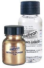 MEHRON GOLD METALLIC POWDER & MIXING LIQUID FACE BODY PAINT MAKEUP COSTUME DD129