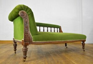 Antique carved oak chaise longue - day bed sofa settee