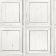 RETRO OLD WHITE VINTAGE WOOD PANEL WALL FEATURE DESIGNER WALLPAPER RASCH 214505
