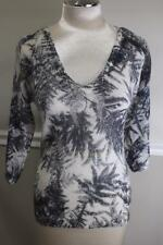 Anthropologie Guinevere grey leaf pattern top sweater size S ( SW 300)